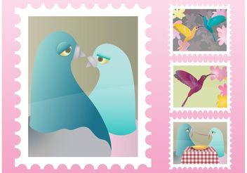 Bird Stamps - vector gratuit #147389