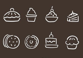 Hand Drawn Bakery And Pastry Vectors - Free vector #147479
