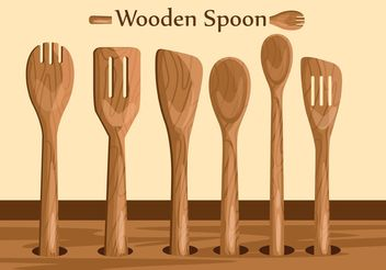 Wooden Spoon Vectors - vector gratuit #147899