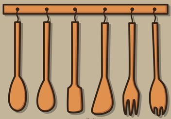 Hanging Wood Utensils Vector Pack - Free vector #147989