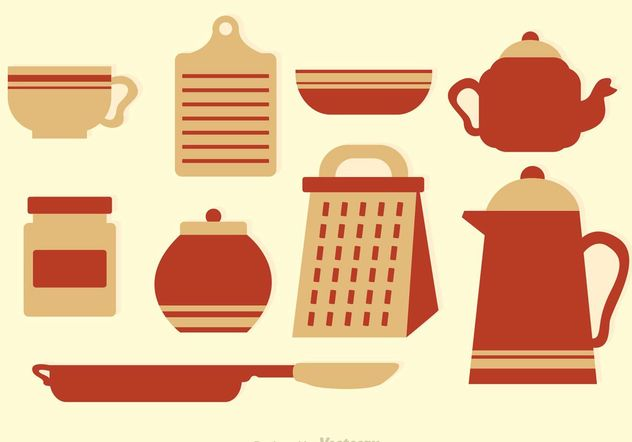 Vintage Kitchen Vector Icons - Free vector #148039