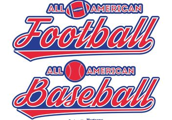 Football / Baseball Typographic Labels - vector #148189 gratis