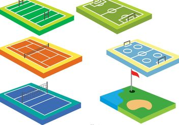Collection Of 3D Sport Courts Vectors - Free vector #148419