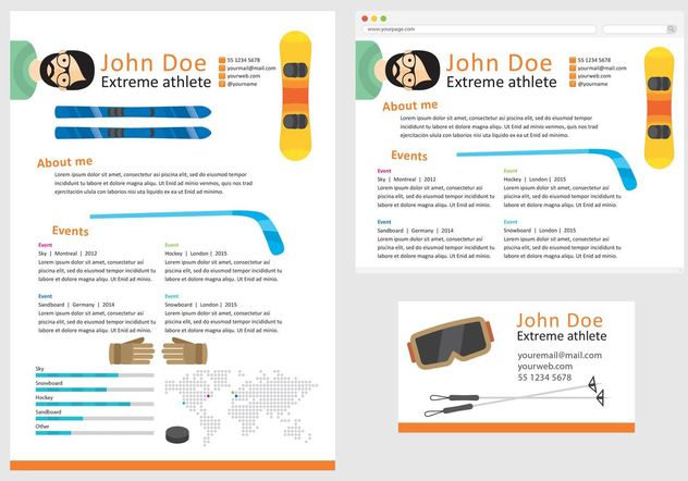 Vector Curriculum Vitae Extreme Athlete - Free vector #148639