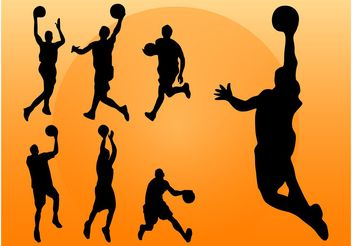 Basketball Players Silhouettes - Free vector #148799