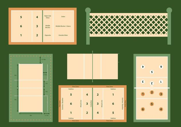 Volleyball Court Vector Diagrams Set Free Vector Download