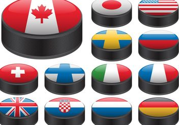 Hockey Puck Vectors with Flags - Free vector #149169
