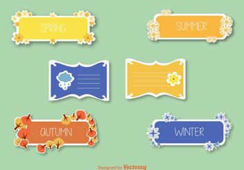 Seasons Stickers & Label Vectors - vector #149249 gratis