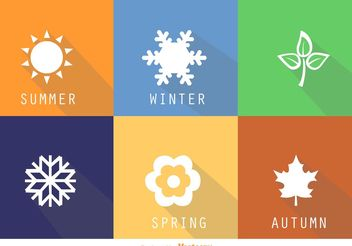Flat Square Seasonal Vector Icons - Free vector #149269