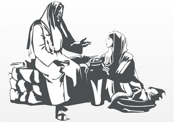 Jesus And Woman - Free vector #149379