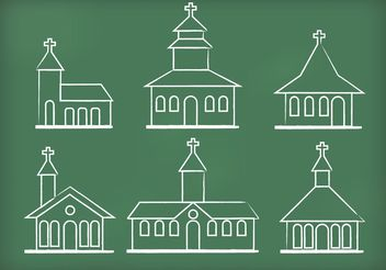 Chalk Drawn Church Vectors - vector gratuit #149389