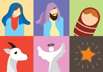 Birth of Christ Vector Icons - Free vector #149609