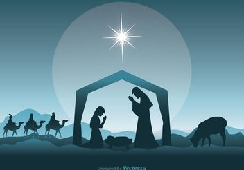 Nativity Scene Illustration - vector gratuit #149629