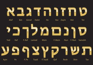 Gold Hebrew Alphabet Vector - vector #149729 gratis