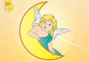 Angel Moon Vector - Free vector #149839