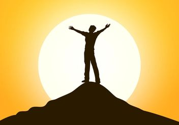 Free Happy Man Standing On The Top Vector - vector gratuit #149989