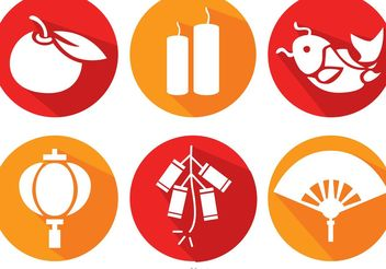 Long Shadow Chinese Lunar New Year Icons Vector - Free vector #150169
