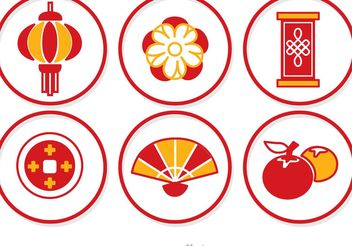 Simple Lunar New Year Circle Icons Vector - vector gratuit #150179