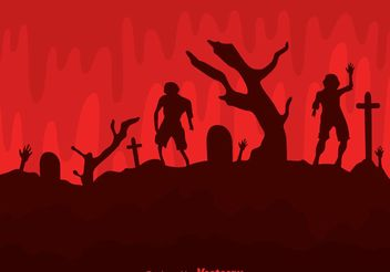 Vector Zombies In Cemetery - Free vector #150219