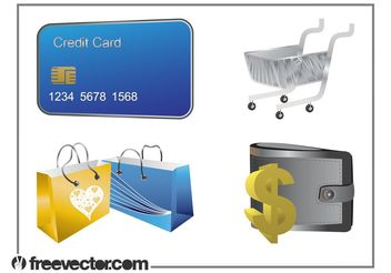 Money And Shopping Set - бесплатный vector #150269