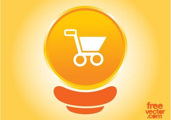 Orange Shopping Cart Button - vector gratuit #150279