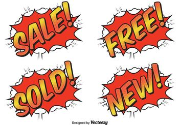Comic Style Sale Labels - vector gratuit #150429