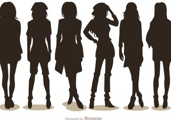 Silhouette Fashion Girl Vectors Pack 2 - Free vector #150559