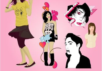 Fashion Girls Vector - vector #150599 gratis