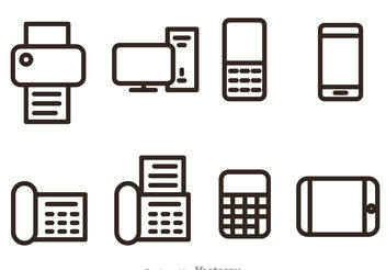 Office And Bussiness Outline Vector Icons - Free vector #151759