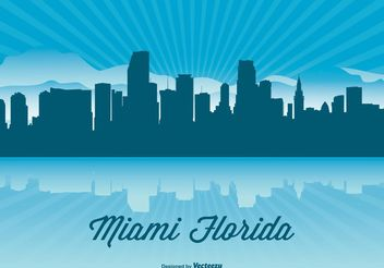 Miami Skyline Illustration - vector gratuit #151899
