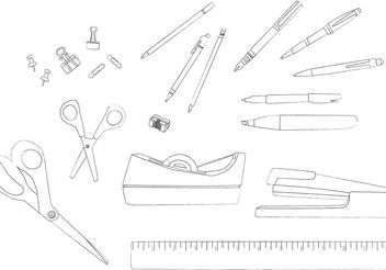Desk Accessories Line Drawing Vectors - vector gratuit #151949