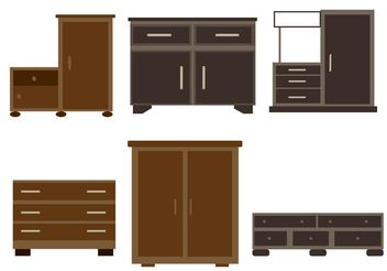 Wooden Furniture Vectors - vector gratuit #152279