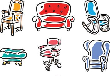 Hand Drawn Chairs Vectors - vector gratuit #152309