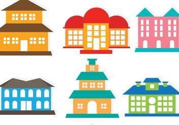 Flat Colorful Vector Mansion Set - vector gratuit #152329