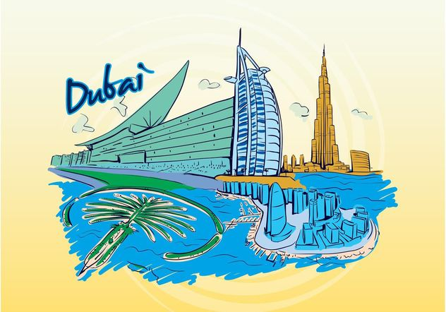 Dubai Travel Graphic - Free vector #152519