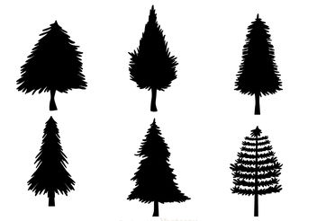 Black Christmas Tree Silhouettes - Kostenloses vector #152609