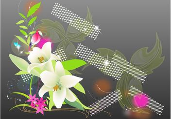 Exotic Flowers And Parrot - бесплатный vector #152689