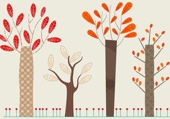 Set of Flat Autumn Vector Trees - vector gratuit #152849