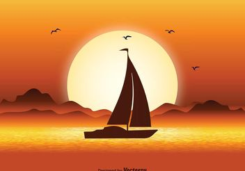Sunset Illustration - Free vector #152859