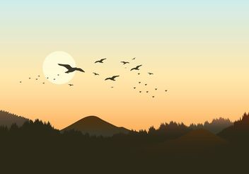Free Forest Landscape With Flock Of Birds Vector - vector gratuit #152879