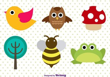 Cute Forest Animal Character Vectors - vector gratuit #152919