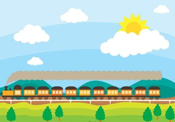 Train On Railway With Rolling Hilsl Vector - vector #152999 gratis