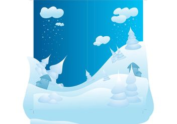 Snowy Winter Landscape - Free vector #153029