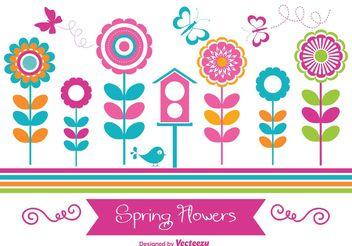 Colorful Spring Flowers - vector gratuit #153149