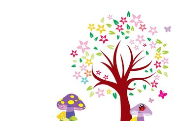 Arbol Blooming Tree Vector - Free vector #153199