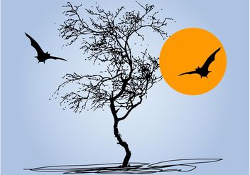 Tree And Bats - vector gratuit #153219