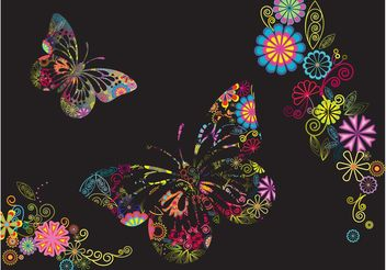 Flowers And Butterflies Background - Free vector #153369
