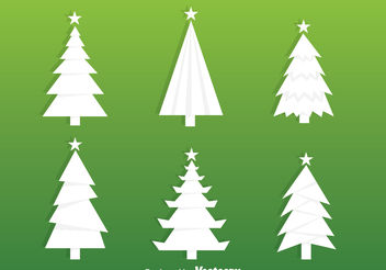 White Christmas Tree Silhouette Vectors - Free vector #153459