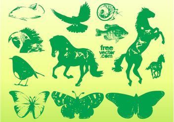 Green Animal Graphics - vector gratuit #153469