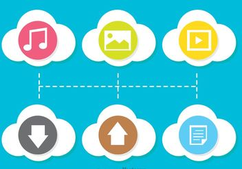 Colorful Flat Cloud Computing Icon Vectors - бесплатный vector #153669